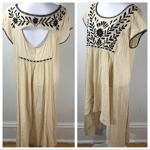 Free people boho high low dress embroidered